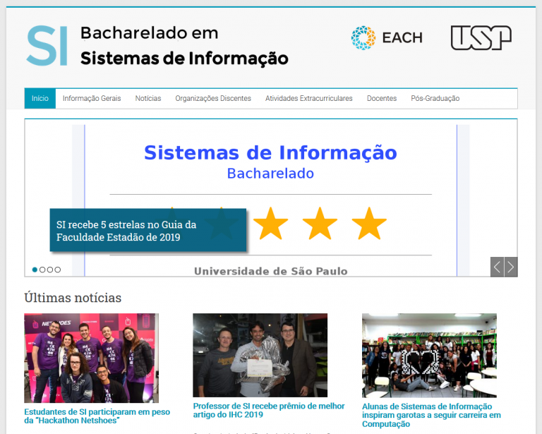 O PET-SI refez o Site do Curso de SI
